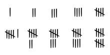 Cartoon Tally Marks, Scratch Lines Score. Drawn Pencil Marks For Learninig To Count Points. Marks From One To Ten.