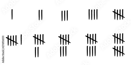 Cartoon tally marks, scratch lines score Canvas-taulu