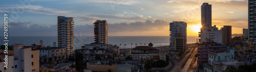Aerial panoramic view of the residential neighborhood in the Havana City, Capital of Cuba, during a colorful sunrise Wallpaper Mural