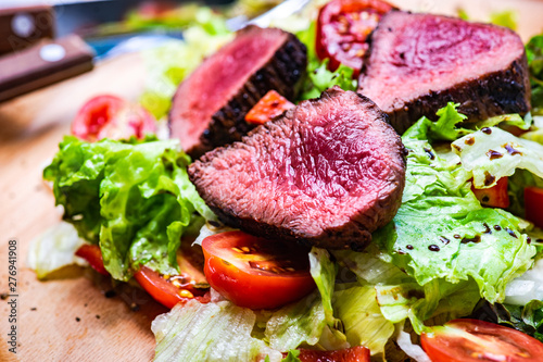 Steak salad with fresh lettuce Wallpaper Mural