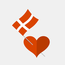 Heart Icon With Danish Flag