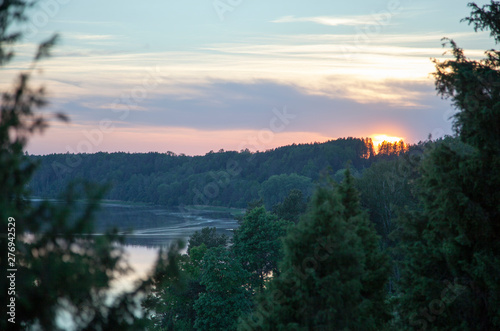 Foto op Plexiglas China Sunset Over Neman River