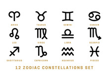 Set Of 12 Zodiac Constellation...