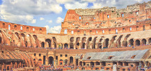 Panorama Of The Colosseum From The Inside. The Famous Roman Amphitheater. Rome, Italy.