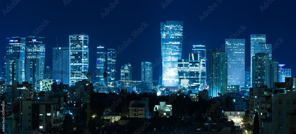 Fototapety, obrazy: Tel Aviv Panorama At Night,  Tel Aviv Skyline at Night,  Israel