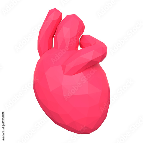 Low poly human heart  3d rendering - Buy this stock