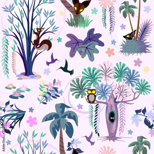 Foto auf AluDibond Ziehen Enchanted Pink Jungle Seamless Pattern Vector Textile Design