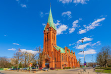 Bydgoszcz, Poland - Front View Of The St. Andrew Bobola Church At The Plac Koscieleckich Square In The Historic Old Town Quarter