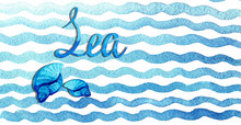 Hand Drawn Watercolor Blue Waves On White Background.Graphic Element For Decoration Design, Card, Invitation, Wedding.