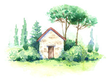 Watercolor Scene With Small Building And Trees