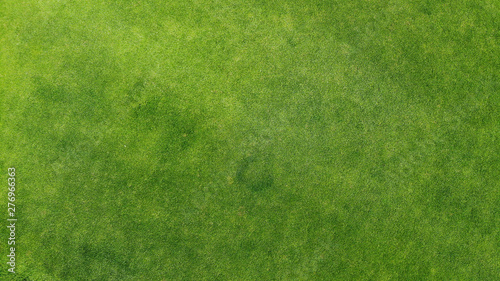 obraz lub plakat Aerial. Green grass texture background. Top view from drone.