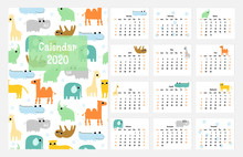 Funny Calendar 2020 With Wild Cartoon Animals. Vector Hand Drawn Illustration.