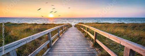 Foto-Schiebegardine Komplettsystem - Beautiful dunes beach at sunset, North Sea, Germany