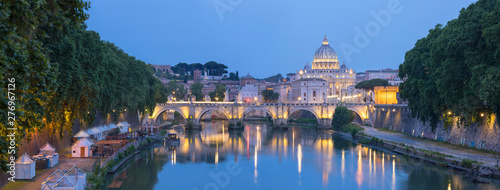 Photo sur Toile Rome Panorama of Rome landmarks with bridge and Cathedral Saint Peter in evening lights