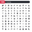 100 camping icons set such as boot, tissue, location, axe, camper van, caravan, picnic, lighter, chair