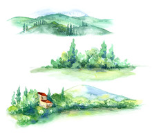 Watercolor Fragments Of Rural ...