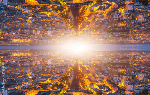 Fotografia, Obraz  Parallel universe landscape and travel into a wormhole or by a time machine