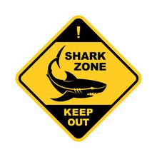 Shark Zone Warning Sign - Vector Shark Silhouette