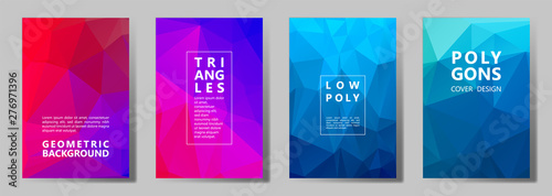 Photo Facet polygonal abstract cover pages, low poly set