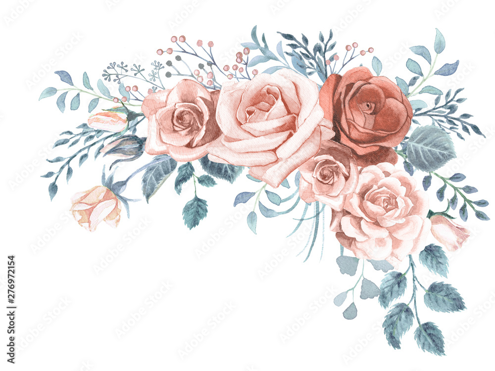 Fototapety, obrazy: Watercolor Greenery and Roses Bouquet