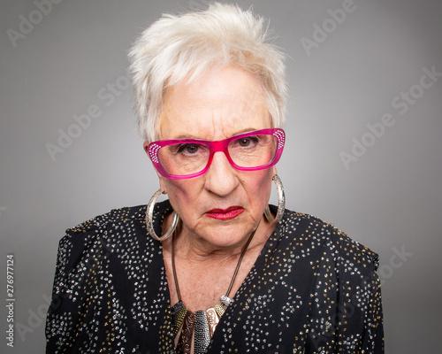 Scowling Woman Stern look