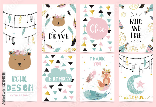 Photo  Collection of boho cards set with feather,dreamcatcher,bear
