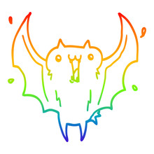 Rainbow Gradient Line Drawing Cartoon Happy Vampire Bat