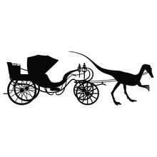 Silhouette Of A Vintage Carriage Drawn By A Dinosaur. Isolated Black And White Silhouette.