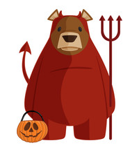 Vector Halloween Cartoon Bear Illustration In Red Devil Demon Costume Holding A Pitchfork And A Trick Or Treat Jack O'Lantern Bucket