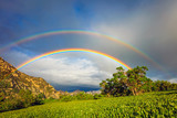 Fototapeta Rainbow - Double rainbow in the Wasatch Mountains, Utah, USA.