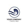 C CLOUD system and blue water wind aqua company vector logo