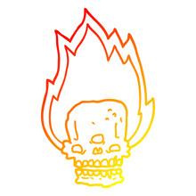 Warm Gradient Line Drawing Spooky Cartoon Flaming Skull