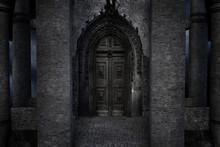 Old Dark Castle Entrance With Wood Doors, 3d Render.