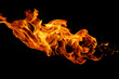 movement of fire flames isolated on black background.