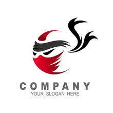 Ninja Logo Simple With Ribbon