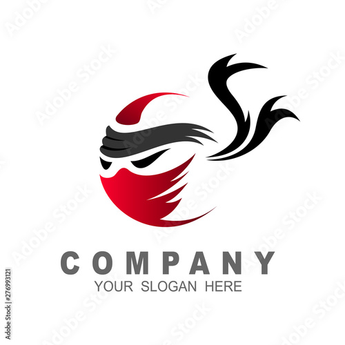 Carta da parati ninja logo simple with ribbon