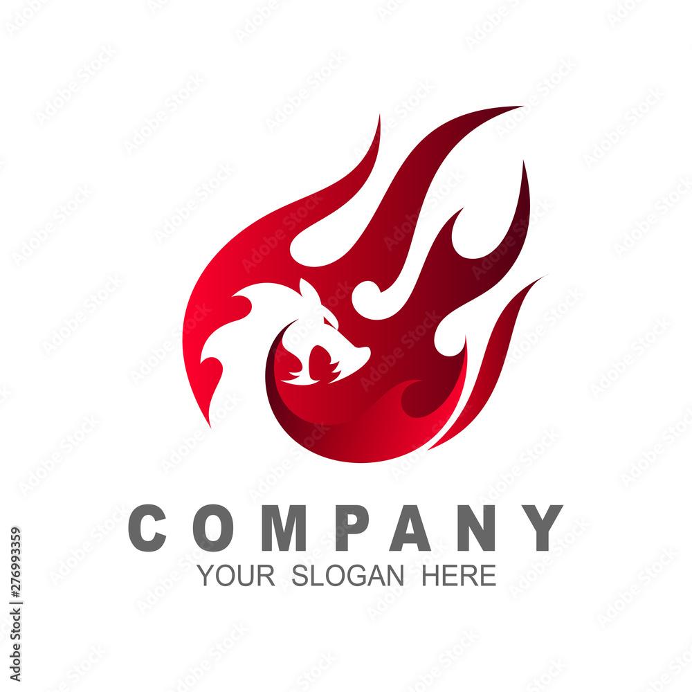 Fototapeta Dragon logo with a fire design illustration, dragon and fire , comet icon