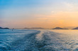 小豆島フェリーから夕刻の海を望む