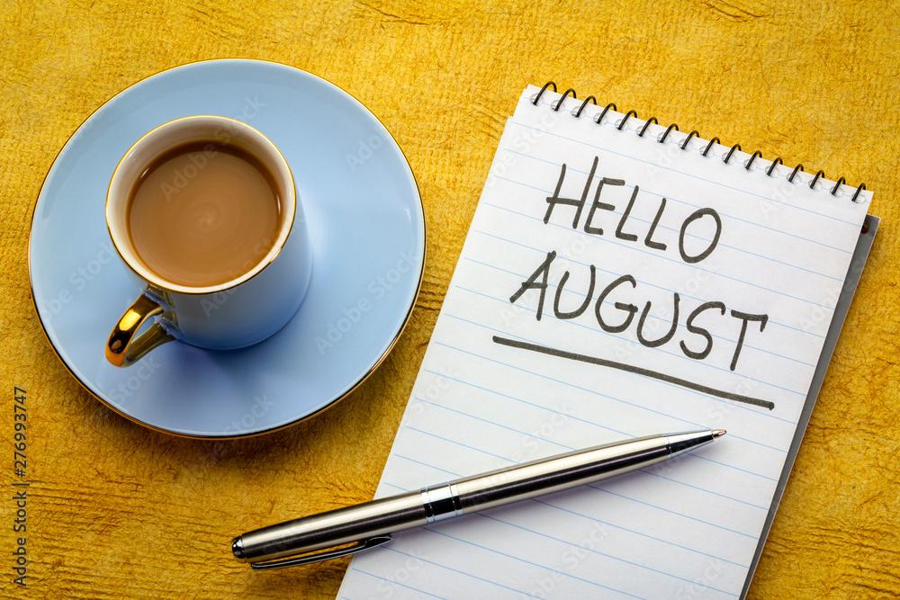 Fototapety, obrazy: Hello August handwriting