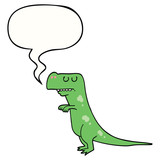 Fototapeta Dinusie - cartoon dinosaur and speech bubble