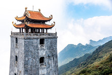 The Stone Pagoda And Pavilion In Temple On Fansipan Mountain Peak The Highest Mountain In Indochina.