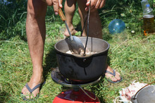 Roast Meat In The Pan Is Cooked In Nature, Summer Picnic
