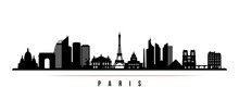 Paris City Skyline Horizontal Banner. Black And White Silhouette Of Paris City, France. Vector Template For Your Design.