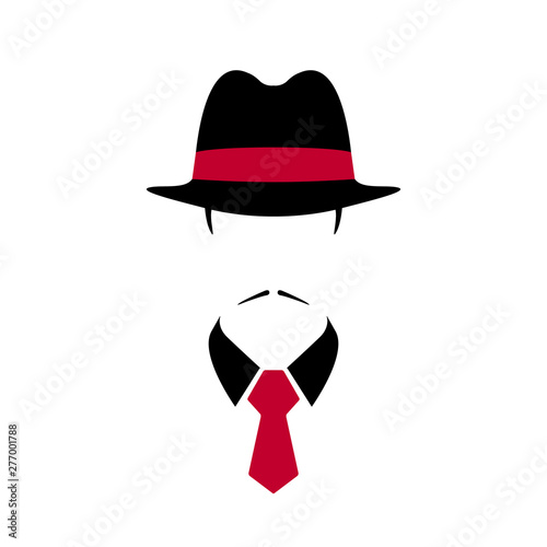 Fototapeta  Portrait of Italian man in black vintage hat and red tie