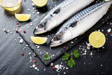 Fresh Fish. Mackerel With Salt...