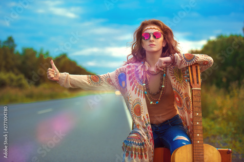 adventures of hippie girl Canvas Print