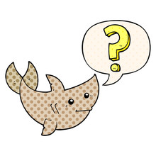 Cartoon Shark Asking Question And Speech Bubble In Comic Book Style