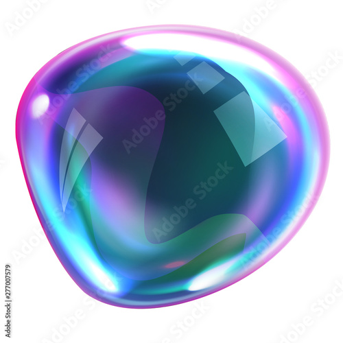 Valokuva Soap bubble deformed from blowing wind, realistic vector illustrations