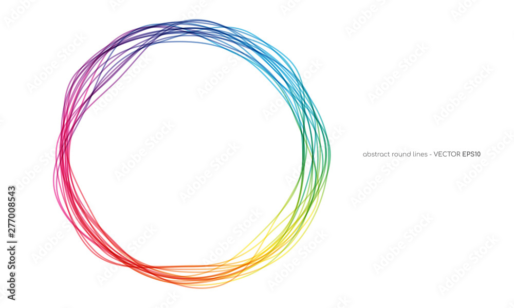 Fototapety, obrazy: Vector abstract circles lines round frame colorful rainbow isolated on white background with empty space for text