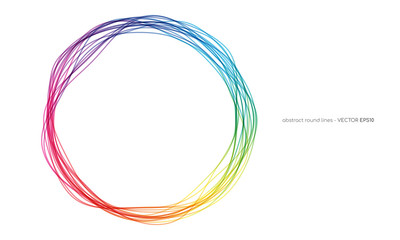 Vector abstract circles lines round frame colorful rainbow isolated on white background with empty space for text